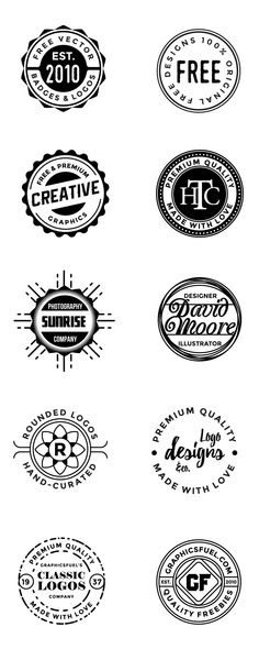 10 free circular logos and badges in vector format, high customizable can be used as vintage labels and badges for your designs. Logo Sticker, Sticker Design, Rundes Logo, Kreis Logo, Handyman Logo, Round Logo Design, Clothing Brand Logos, Logos Vintage, Creative Logo