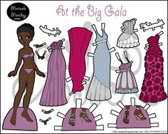 An African-American paper doll with lots of formal gowns in full color to print. She's from 2012.