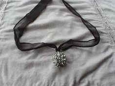Viscose silk with black and rhinestone ball by DejaVuWearableArt, $18.50
