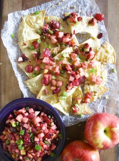 Ambrosia Apple Pico De Gallo is the perfect sweet and savory fruit salsa! Pair with White Cheddar Nachos for a beautiful snack! Quick Healthy Lunch, Healthy Weeknight Meals, Healthy Crockpot Recipes, Healthy Snacks, Healthy Eating, Clean Eating, Burger Side Dishes, Healthy Side Dishes, Best Appetizers