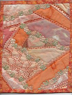 Silk Ribbon Embroidery I ❤ crazy quilting Crazy Quilt Stitches, Crazy Quilt Blocks, Crazy Quilting, Silk Ribbon Embroidery, Embroidery Kits, Embroidery Stitches, Embroidery Designs, Colchas Quilt, Patch Quilt