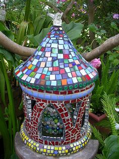 mosaic | How to make a mosaic birdhouse | Make Mine Mosaic This would make a gorgeous fairy home