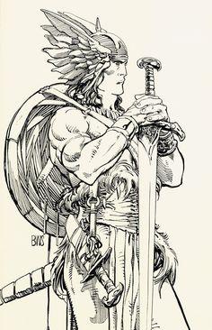 'Conan the Barbarian' Artist Barry Windsor-Smith. Comic Book Artists, Comic Artist, Comic Books Art, Vikings, Windsor Smith, Conan The Barbarian, Sword And Sorcery, Weird Art, Comic Art