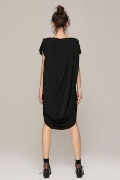 Front row Shop CRUMPLED BLACK DRESS