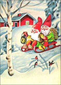 Olavi Vikainen Gnomes, Ronald Mcdonald, Elf, Santa, Painting, Fictional Characters, Vintage, Painting Art, Elves