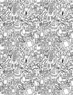 Infinity Robots Black & White Art Print by chrispiascik Doodle Pages, My Doodle, Doodle Sketch, Infinity Symbol Art, Doodle Canvas, Doodle Tattoo, Stoner Art, Black And White Canvas, Tattoo Flash Art