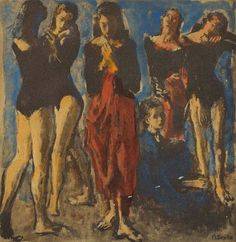Dancers. Moses Soyer (American, 1899-1974). Painting on print.