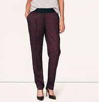 "Burgundy Deco Fluid Ankle Pants in Marisa Fit - Fantastically fluid, this lush pair is decked in a deco-inspired print. Your perfect fit if your hips are proportionate to your waist. Solid waistband. Zip fly with hook and bar closure. Front pleats. Slash pockets. Back welt pockets. Cuffed hem. 30"" inseam."