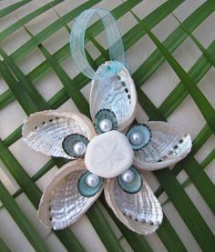 Abalone Shell Star Ornament, Beach Decor Christmas Ornament, Nautical Ornament, Abalone and Limpet Seashell Ornament