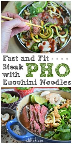 Fast and Fit Steak Pho with Zucchini Noodles makes a quick and easy dinner and is based on the traditional Vietnamese soup. I've take some shortcuts with the broth to keep it a 30 minute meal -- and it's also Paleo diet approved!