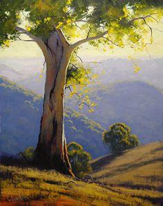 Beautiful Example of Landscape Painting. Hillside Gum by Graham Gercken