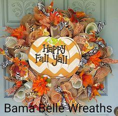 Fall Wreath- Fall Deco Mesh Wreath-Pumpkin Wreath- Autumn Decor-Door decor…