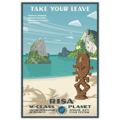 Escape to Risa via Bye Bye Robot - retro Star Trek travel poster. I LOVE this one! $25 though...