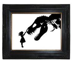 Silhouette Girl with Dinosaur pet tyrannosaurus rex skeleton Victorian Steampunk art print