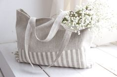 Choose 3 variants: 1) Inner and outer sides of bag are ALL PLAIN BEIGE; 2) Inner and outer sides of bag are ALL STRIPPED; 3) one side is PLAIN BEIGE, other side is STRIPPED. Shopping bag is made from 100% natural and eco-friendly linen. Our bags need the minimum of care - you can wash