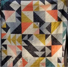 """Barbara Boone used GO! Triangle Dies to make this quilt for her niece, Caroline!  Thanks for sharing Barbara!  Have a finished project to share? Pin it on our """"Share Board"""" #accuquilt"""