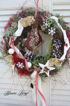 """Weihnachtsdeko - :::: Türkranz """" Rote Schlittschuhe """":::: - ein Designerstück von BlumereiBerger bei DaWanda"""