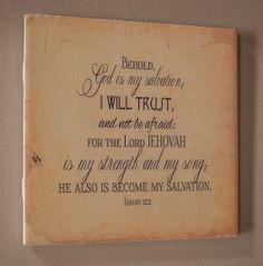 God is my Salvation Scripture Ceramic Tile Wall by WORDartbyKaren, $10.00