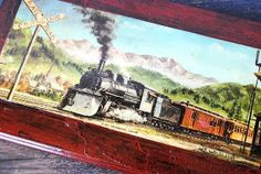 Vintage Train Art Litho Lacquer Wood Wall by vintageeclecticity, $32.00