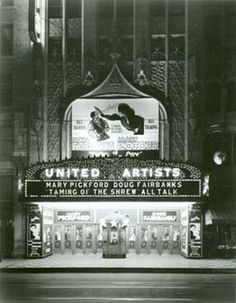 1929 marquee of the United Artists Theater (built in 1927), neighbor to the Eastern Columbia Building, in Los Angeles' Broadway Theater District