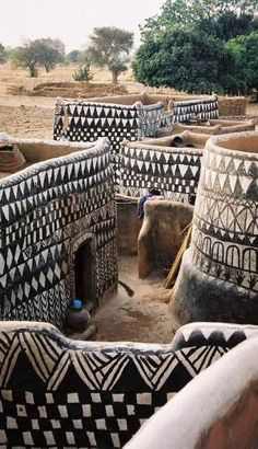 Painted dwellings in a Gurunsi village of rural Burkina Faso. by jo&co interior design