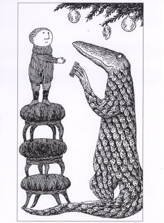 EDWARD GOREY Christmas Tree Creature PRINT / Oversized POSTCARD Free Shipping !!