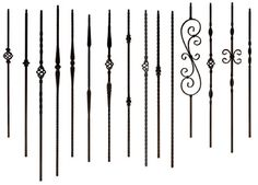 Iron baluster options for stair railing - it will help me for my garage door - Bestpin Stairs Balusters, Wrought Iron Staircase, Wrought Iron Stair Railing, Iron Balusters, Metal Stairs, Banisters, Replace Stair Railing, House Staircase, Staircase Remodel