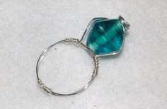 Aqua angular silver wrapped ring size 9 by jeannare on Etsy, $6.00