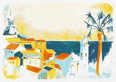 Lisbonne - Vue depuis Alfama - Jordan Graphic Gouache, La Rochelle France, Illustrations, Jordan, Graphic, Creations, Painting, Art, Lisbon