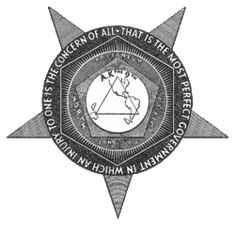 The seal of the Knights of Labor.  This union during the Gilded age was the first large national union.  They were very inclusive towards american born citizens, but were discriminatory towards immigrants.
