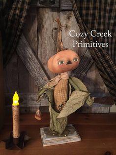 PRIMITIVE HANDMADE PUMPKIN|Folk Art PumpkinDoll|Folk Art|Pumpkin|Cloth Doll|Halloween|Autumn|Fall|Home Decor