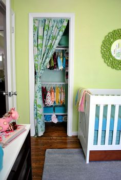 Love this closet idea for the baby's room. We also have two doors that open into each other. @Sherry @ Young House Love, John, Clara and Burger are the coolest family on the Web. They will tell you none of their ideas are new, but they bring themselves into each project making it truly special.