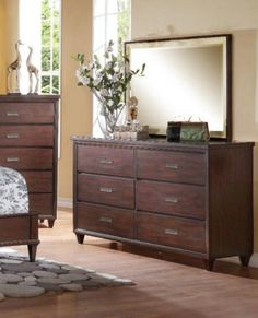 Acme Furniture - Raleigh Dresser with Mirror Set in Cream/Cherry - 22825-24