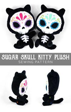 Free sewing pattern: Sugar Skull Kitty plush for Dia de Muertos ♥