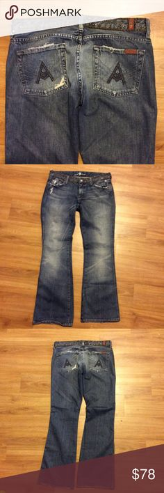 7 FOR ALL MANKIND A POCKET JEANS 7 FOR ALL MANKIND A POCKET JEANS WITH EMBELLISHED BELT DESIGN AND FACTORY DISTRESS. 💙 INSEAM 30 INCHES 7 For All Mankind Jeans