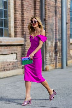 Magenta Off-the-Shoulder Dress Paired with Lilac Chunky Heels, Sunglasses, & a Multicolor Clutch