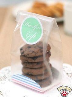 100 шт. пвх прозрачный печенье / закусочная / печенье выпечки мешки для упаковки с розовый и голубой полосой мягкое дно
