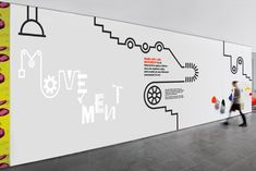 Mural: MoMA Art Lab: Movement - The Department of Advertising and Graphic Design Display Design, Booth Design, Office Wall Design, Office Walls, Moma Art, Office Graphics, Espace Design, Floor Graphics, Interactive Walls