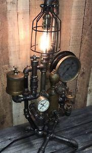 Steampunk-Industrial-Lamp-Man-Cave-Machine-Age-Unique-Lighting-Antique-Parts