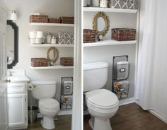good idea - shelves above toilet in guest bath...?