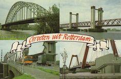 Groeten uit Rotterdam, een wat jongere kaart in ieder geval van na  1996, het bouwjaar van de Zwaan, maar interessant vanwege de verzameling bruggen, reclamekaart van het Rotterdams Nieuwsblad