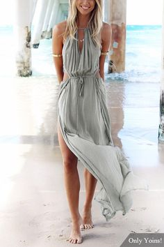 Make heads turn in this beach maxi dress. It is adorned with sleeveless, back lace-up, cut out and side split. Pair it with high heels.