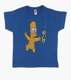 Camiseta Niño, manga corta, azul royal. Bart Buceador, 9 colores aelegir por solo 19,90€