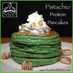 pistachio protein pancakes - THE FIT BALD MAN