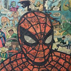 Collage artist Mike Alcantara uses comics to create these awesome one off superhero collages ~ Spiderman