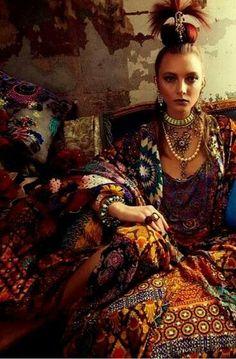 Gypsy fashion, layers, warm colors