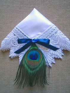 Hey, I found this really awesome Etsy listing at https://www.etsy.com/listing/75060301/royal-peacock-wedding-hanky-with