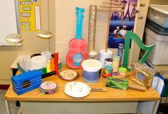 Instruments made by grade 4 students after a Sound Unit to demonstrate pitch and volume.