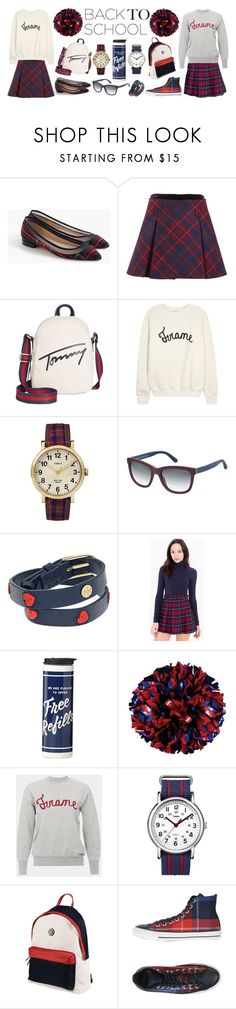 """""""Back to School: Prep Squad!"""" by potterfluff7 ❤ liked on Polyvore featuring J.Crew, Tommy Hilfiger, Frame, Timex, Tory Burch, American Apparel, Kate Spade and Converse"""