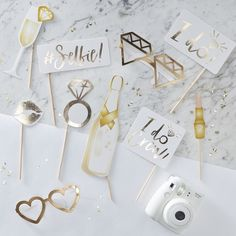 A must-have for any bachelorette party! Grab these metallic gold and silver bachelorette party photo booth props and get ready to snap some selfies! They go perfectly with any theme! Set of 10 props Comes with wooden sticks; not assembled Bridal Shower Photos, Gold Bridal Showers, Wedding Photo Booth Props, Party Props, Ideas Party, Party Themes, Classy Hen Party, Accessoires Photobooth, Diy Fotokabine